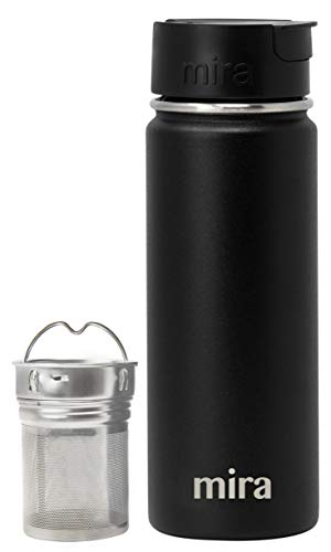 Mira Stainless Steel Tea Infuser Travel Mug | Insulated Coffee Mug Thermos with Strainer | Hot & Cold Tea Tumbler for Loose Leaf Tea | BPA-Free, Leak Proof Flip Cap | Black, 18 oz