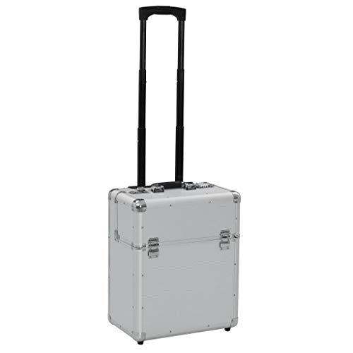 Festnight- Pilotenkoffer 39 x 47 x 25 cm Silber Aluminium Waffenkoffer Pistolenkoffer Munitionskoffer Mit 2 Rädern und ausziehbarem Griff