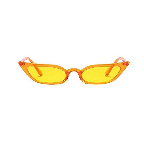 WooCo Retro Clout Brille für Damen und Herren, Räumungsverkauf Fashion Frame Flat Mirror Brillengestell Acht Farbe Schmale Brillenfassungen (A-Yellow, One Size)