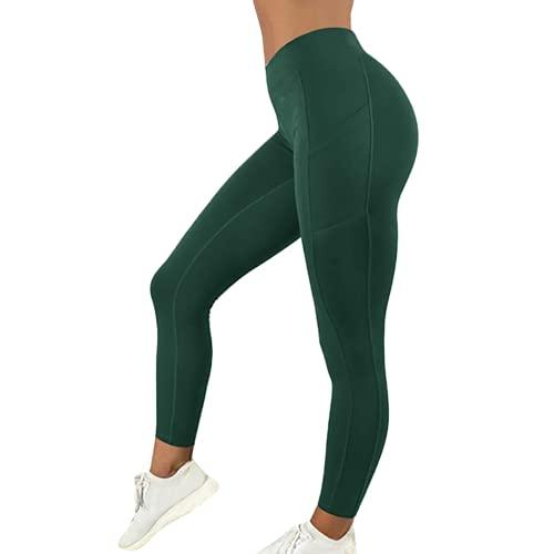 Pantalones de Yoga para Mujer de Color sólido de Moda, Pantalones de Cintura Alta para el Vientre, Flexiones, Entrenamiento de Cadera, Pantalones Deportivos para Celulitis D L