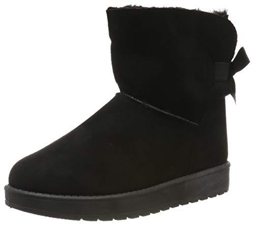 Warm Gefütterte Damen Stiefeletten Schlupfstiefel Boots Schleifen Schuhe 128596 Schwarz 39 Flandell