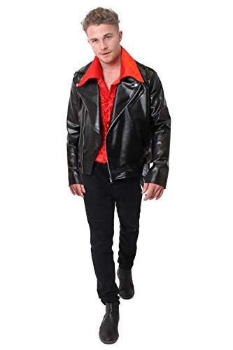 ILOVEFANCYDRESS - Disfraz de fiesta de noche para hombre, disfraz de los aos 70, camisa roja con volantes y chaqueta de piel negra (talla XL)