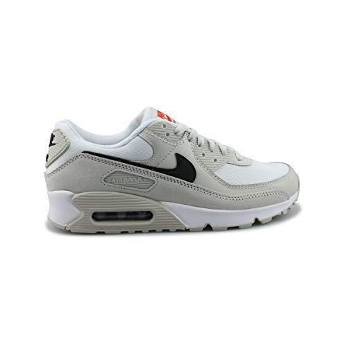 Nike Air MAX 90, Zapatillas para Correr Hombre, White Black Lt Bone Team Orange, 45.5 EU