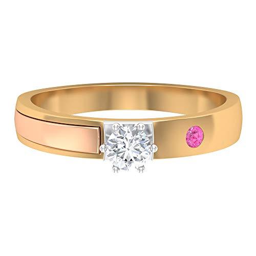 Anillo solitario de diamante de 1/4 quilates con zafiro rosa creado en laboratorio, anillos de tres tonos para mujer (diamante redondo de 4 mm), oro de 14 quilates rosa