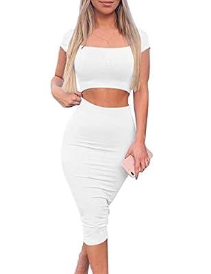 Kaximil Women's Sexy Bodycon Midi Club Dresses Basic Casual 2 Piece Outfits Crop Top Skirt Set,Medium,White