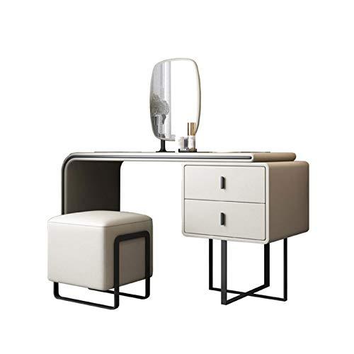 XCJ Schminktisch Schminktisch mit Spiegel Waschtisch Set mit Hocker / 2 Schublade Frisierkommode (Color : Beige, Size : 120x52x76cm)