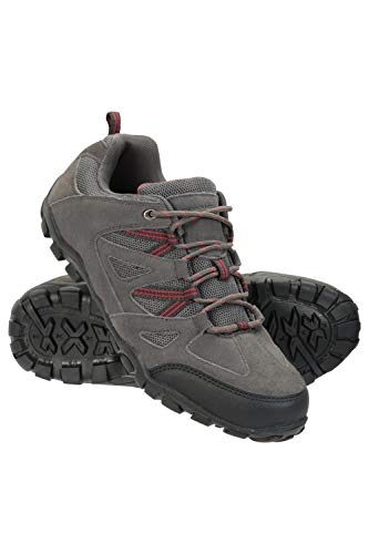Mountain Warehouse Outdoor Mens Walking Shoes - Suede Mesh Upper Footwear, Cushioned EVA Footbed, Rubber Outsole - for Hiking, Camping, Travelling Dark Grey 9 UK