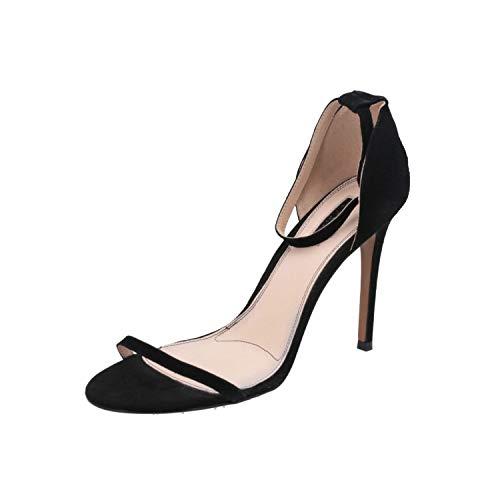 Topshop Rosalie Skinny 2PT Damen Sandalen Schwarz Flip-Flops Sommer Schuhe, Größe:EUR 42