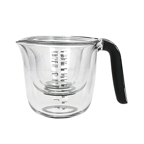 KitchenAid Set of 3 Measuring Jugs, Dishwasher Safe – Large 4-Cup (1 Litre), 2-Cup (500ml) and 1-Cup (250ml) – Black