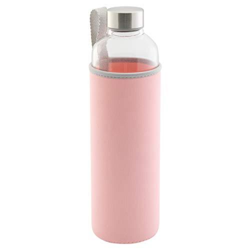axentia Trinkflasche aus Glas, Wasserflasche mit Neoprenhülle in Rosa, ca. 1 l