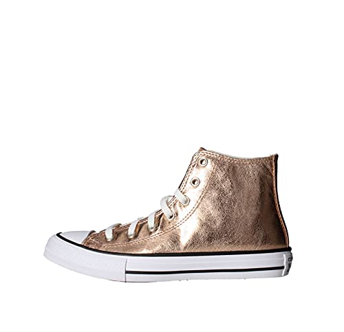 Converse Chuck Taylor All Star Hi Digital Powder Dorado/Negro (Rose Gold/Black) Tela Adolescentes Entrenadores Zapatos
