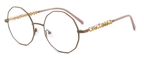 FERAVIA Neuartige unregelmäßige sechseckige Brillen aus Metall, nicht verschreibungspflichtig für Frauen in Cremebraun