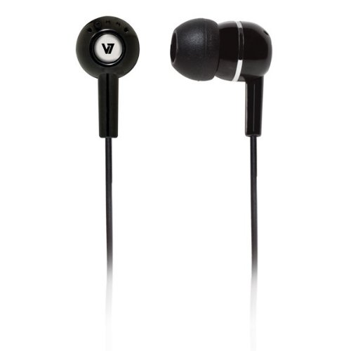 v7 bluetooth headphones wirelesses V7 High Definition Noise Isolating 3.5mm Stereo Comfort-Fit Earbuds for music and video audio streaming on smartphones, portable MP3, DVD, Game systems (HA100-2NP) - Black