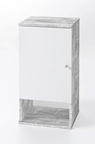 Dreams4Home Badezimmer Hängeschrank 'Mio VII' Badregal Wandschrank Badschrank Weiß Sonoma Eiche Betonoptik 35 x 70,5 x 32 cm Schrank 1 Tür 1 Fach, Farbe:Grau
