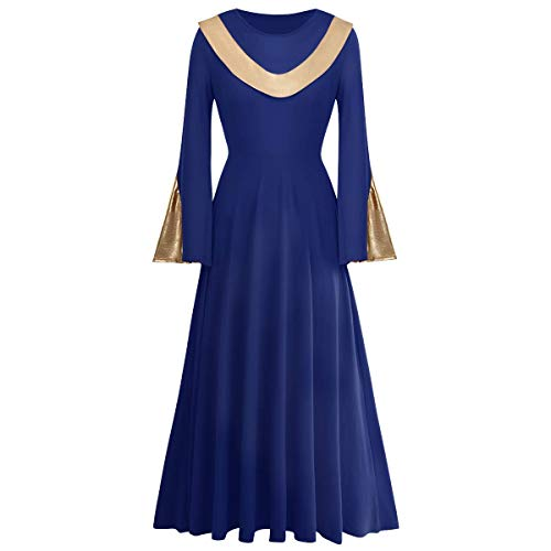 Women Metallic Gold Liturgical Praise Dance Worship Dress Bell Long Sleeve Loose Fit Full Length Wide Swing Dancewear Tunic Circle Color Block Gown Ballet Costume Navy Blue-Gold 2XL
