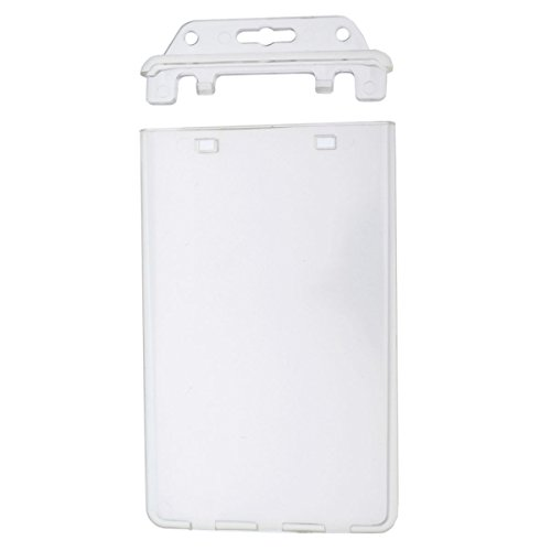 Permanent Locking Hard Plastic Badge Holder - Vertical Clear Heavy Duty Secure Case Holder for One or Two I'd Cards by Specialist ID