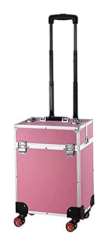 LZLM Portable Coiffure Maquillage Beauty Chariot De Beauté - Trolley Trolley Beauty Train Transport Coque Cosmétiques Coffret Cuir de Luxe (Color : Pink)