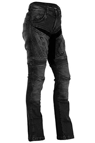 BULLDT Damen Motorradjeans Motorradhose Denim Jeans Hose mit Protektoren, Farbe:Schwarz, Jeansgröße:W36 / L31