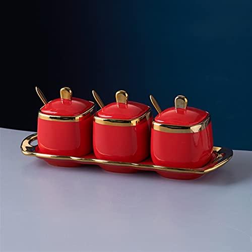 Forniture da cucina Ceramica Zucchero Ciotola Salt Shaker Spice Jar Contenitore Condimento Set di 3 pezzi Utensili da cucina Organizzatore (Color : A Red)