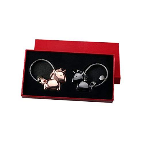 OUNONA 3ピース磁気運命のキスユニコーンカップル愛バレンタインギフト用かわいいキーチェーン