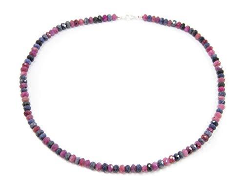 Damen Halsschmuck Kette Collier Halskette aus Rubin und Saphir 925er Silber Verschluss