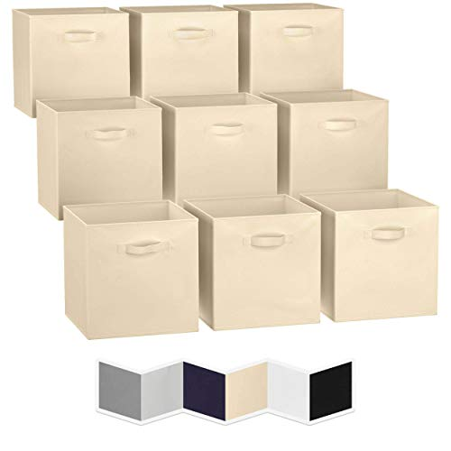 13x13 Large Storage Cubes (Set of 9). Fabric Storage Bins with Dual Handles | Cube Storage Bins for Home and Office | Foldable Cube Baskets For Shelf | Closet Organizers and Storage Box (Beige)