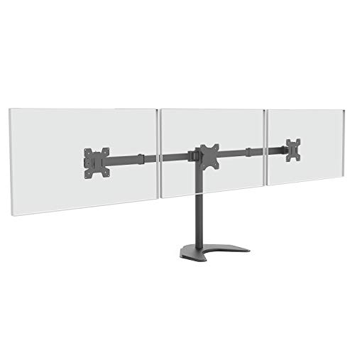 WALI Free Standing Triple LCD Monitor Fully Adjustable Desk Mount Fits 3 Screens up to 24 inch, 22 lbs. Weight Capacity per Arm (MF003), Black