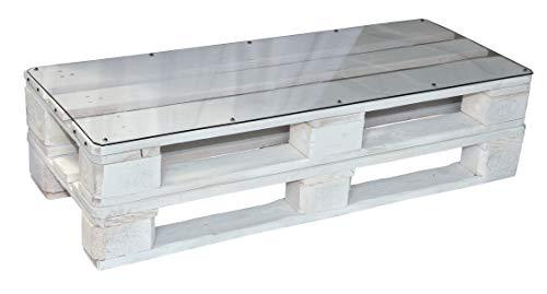 clc Tavolo Tavolino in Pallet per Salotto Esterno Giardino -Made in Italy- Bianco, 120x46x29