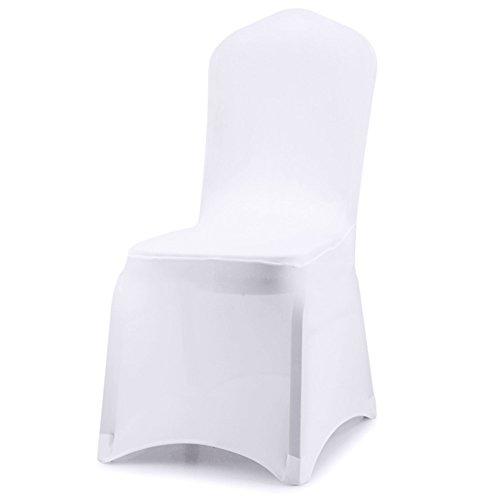 Acelectronic Housse de Chaise, 10 pièce de Salle à Manger Couverture Couleur Blanc Unie Polyester Spandex, Universelle Extensible pour de Mariage/à Domicile Décoration