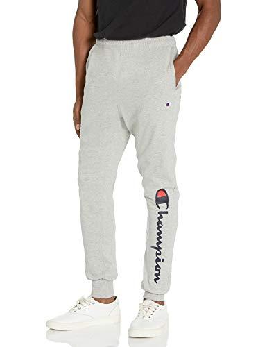 Champion Men's Classic Jersey Jogger Pant-Graphic, Oxford Gray-15 Script Low Leg, X Large