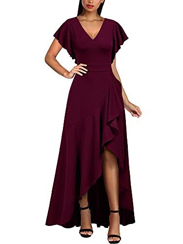 MIUSOL Damen V-Ausschnitt Langes Split Kleid Cocktail Party Abendkleid Weinrot Gr.L