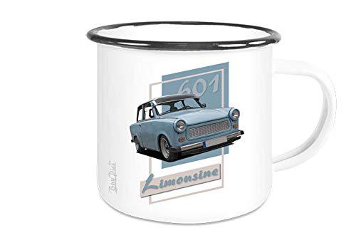 Fototasse weiß Emaille mit Motiv von Trabant Motivtasse Becher Kaffepott - Wunschtext auf Anfrage möglich - BuyPics4U - Tr14