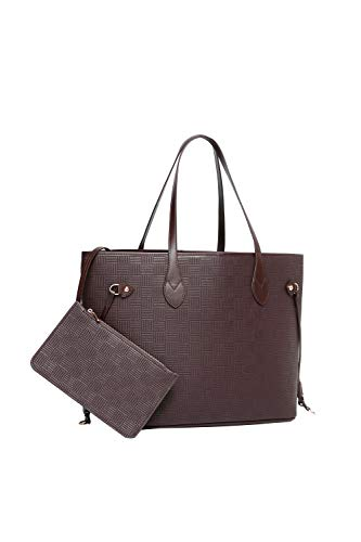 Daisy Rose Tote Shoulder Travel Bag & Matching Clutch PU Vegan Leather - Brown Check