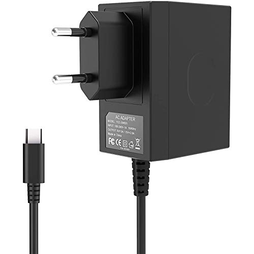 Chargeur pour Nintendo Switch, Adaptateur Secteur pour Switch 1,5M USB Type-C 15V/2,6A Support le Mode TV