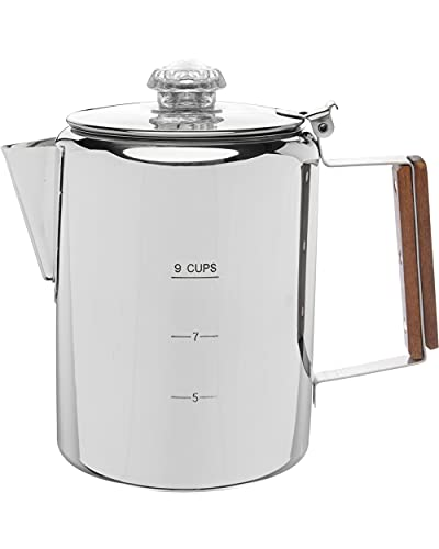 COLETTI Bozeman Camping Coffee Pot – Coffee Percolator – Percolator Coffee Pot for Campfire or Stove Top Coffee Making – 9 CUP (9 CUP)