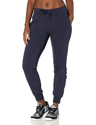 adidas womens Essentials Slim Fit Full Length Linear Training Joggers Sweatpants, Legend Ink/White, Small
