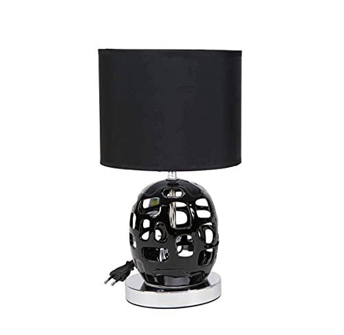 Lámpara de diseño moderno en color plateado o negro y pantalla de tela color negro | Casquillo E14 (Bombilla no incluida) Perfecta para el salón, dormitorio o recibidor. (Negro)