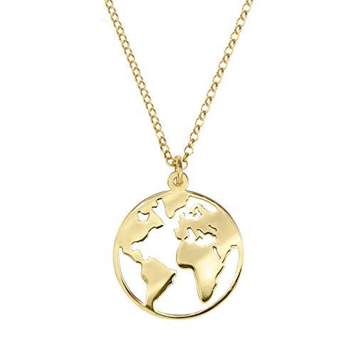 SINGULARU  - Collar Mundo Oro para Mujer Plata de Ley 925 con baño de Oro de 18k - Joyas mujer