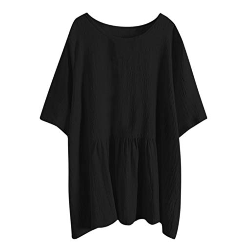Save %82 Now! HimTak Women's Large Size Casual Cotton And Linen Bat Sleeves Loose Short-Sleeved Fash...