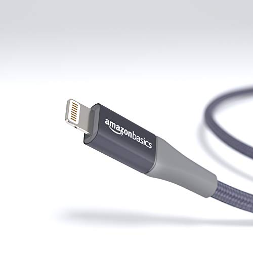 Amazon Basics - USB-A auf Lightning-Kabel mit doppelt geflochtenem Nylon - Apple MFi-zertifiziert, Dunkelgrau, 10cm
