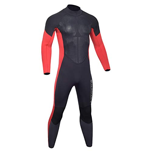 Hevto Wetsuits Men Guardian Ⅱ 5/4/3mm Neoprene Full Scuba Diving Suits Surfing Long Sleeve Keep Warm Back Zip(5mm Red Men Ⅱ, XL)