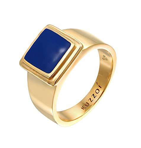 Kuzzoi Anillo de plata de ley 925 maciza con sello de 14 mm de ancho, chapado en oro, anillo clásico de plata con esmalte para hombre, talla 60-66, 0607471521, Plata de ley 925 Esmalte,