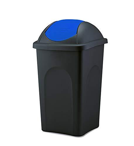 BigDean XL Mülleimer 60L groß - schwarz mit blauem Schwingdeckel - aus hochwertigem Kunststoff - Müllsammler Abfalleimer Mülltonne Abfallbehälter - Küche Büro