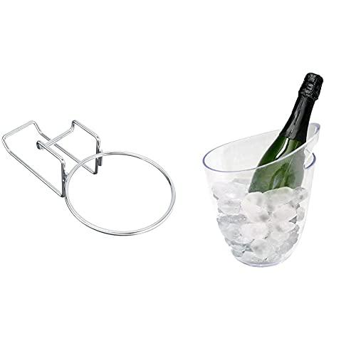 vin bouquet Fia 199 Supporto per Secchiello, in Acciaio Inox, Argento & Transparent 1 Bottle Ice Secchiello Portaghiaccio Trasparente per 1 Bottiglie
