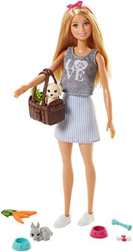 Barbie Vamos de picnic Muñeca con animales y accesorios,