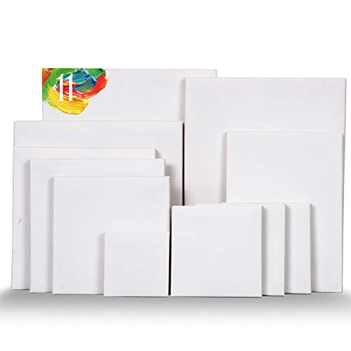 Whaline 11 Pack Stretched Canvas Bulk 8 Assorted Sizes Artist Blank Canvas Framed Art White Board for Oil Acrylic Painting DIY Craft Drawing (3x3',4x4',5x5',6x6',7x7',5x7',8x10',7x9')