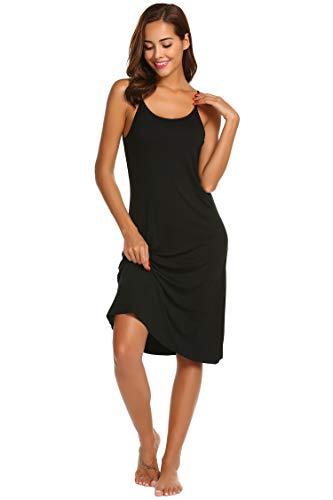 Ekouaer Women's Solid Back Criss Crossing Sleepwear Dress
