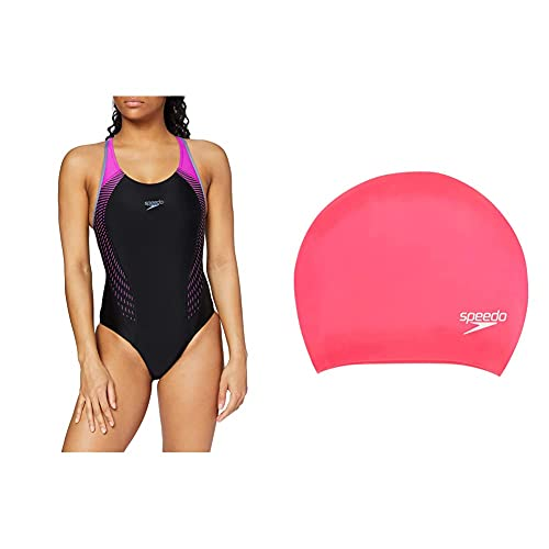 Speedo Women's Fit Laneback Swimsuit, Multicolor (Black/Violet),34 UK &...