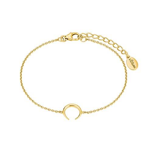 s.Oliver Armkette für Damen Armkette mit Büffelhorn, gelbvergoldetes 925 Sterling Silber