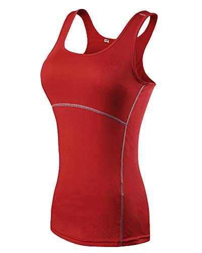 CHEN Sport Tank Top Mujer Sin Mangas Secado Rápido Fitness Camiseta Deportiva Rojo XL